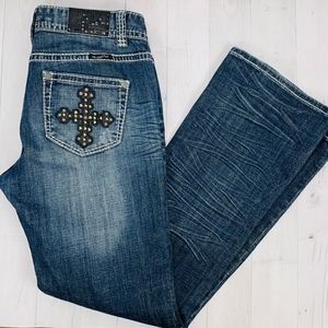 Rock & Roll Cowgirl Jeans Low Rise Bootcut Cross